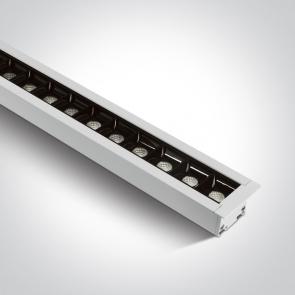 38145BR/W/C Profil echipat cu 48 spoturi led, Incastrat, 40W, UGR 19, Dimeniuni  (L)1295mm x (l)50mm x  (h)55 mm