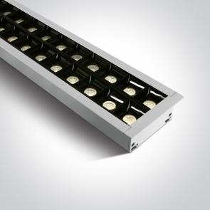 38150BR/W/W Profil echipat cu led, 40W, UGR 19, Dimeniuni  (L)1300mm x (l)80mm x  (h)55 mm