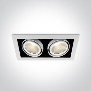 51230/W/W Downlight Led Incastrat, Orientabil, 2x30W, Dimensiuni 350mm (L) x 185mm (l) x Adancime 105mm
